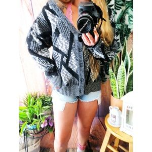 Vintage abstract printed grandpa cardigan 🌜